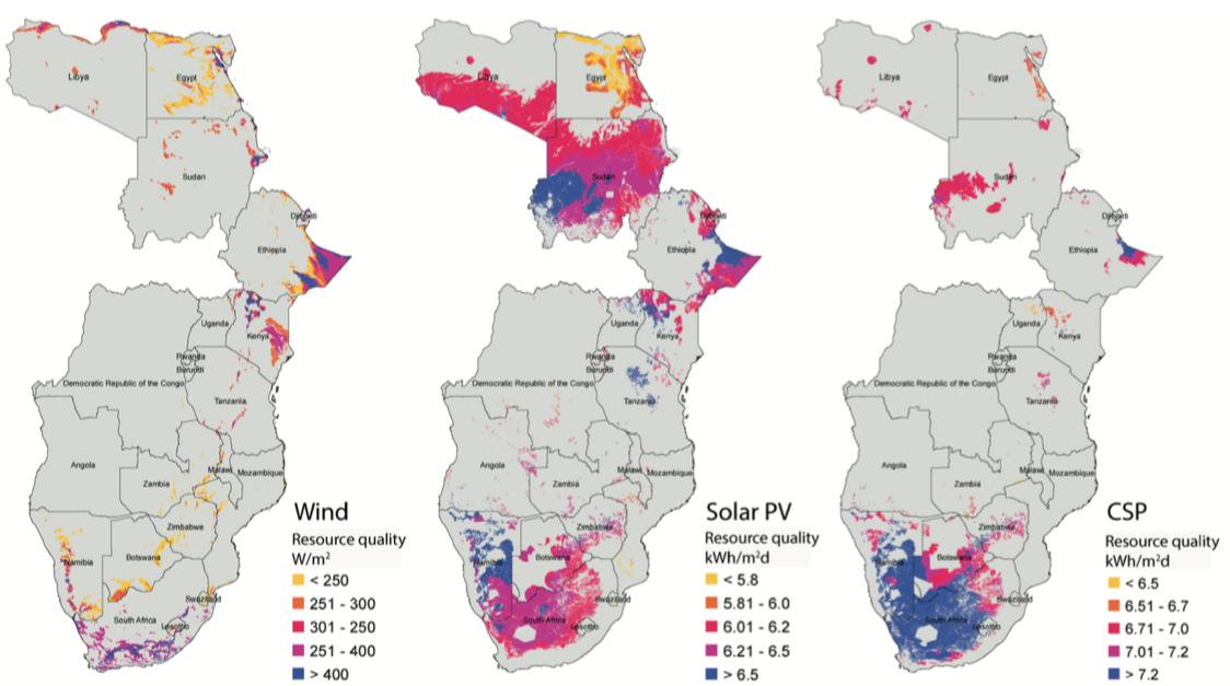 The location and potential of wind, solar photovoltaics, and concentrating solar power, in terawatt-hours, in southern and eastern Africa. (Credit: Berkeley Lab)