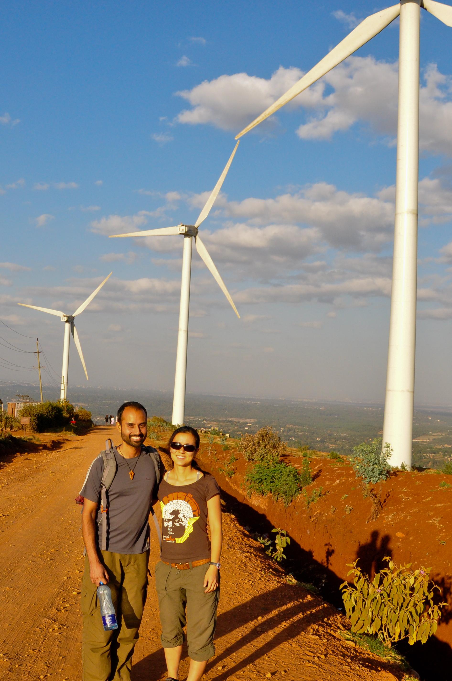 Berkeley Lab scientists Ranjit Deshmukh and Grace Wu at Ngong Hills Wind Farm (Courtesy Grace Wu)