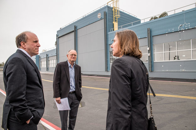 Paul Dabbar, Mike Witherall and Mary Anne Piette in front of FLEXLAB