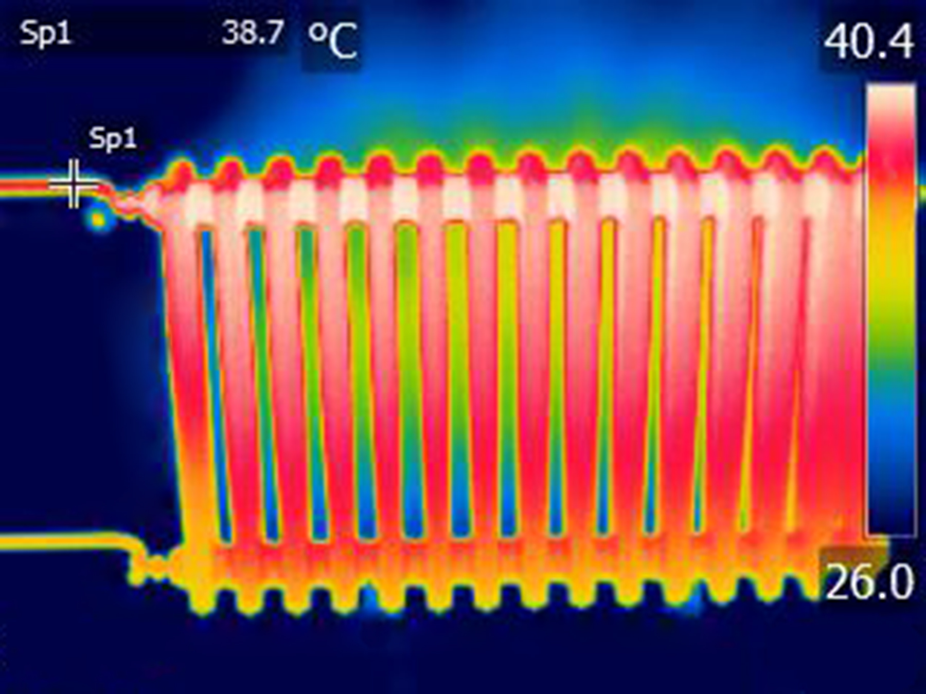 Thermal energy is shown radiating in this infrared image