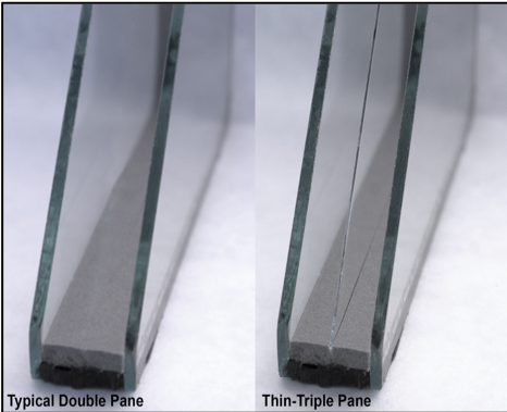 Typical Double Pane on Left & Thin-Triple Pane on Right