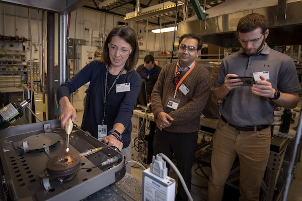 Berkeley Lab's Vi Rapp demonstrates as part of Better Plants Technology Days.